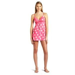 NEW Betsey Johnson Slip Nightgown Pink Hearts M